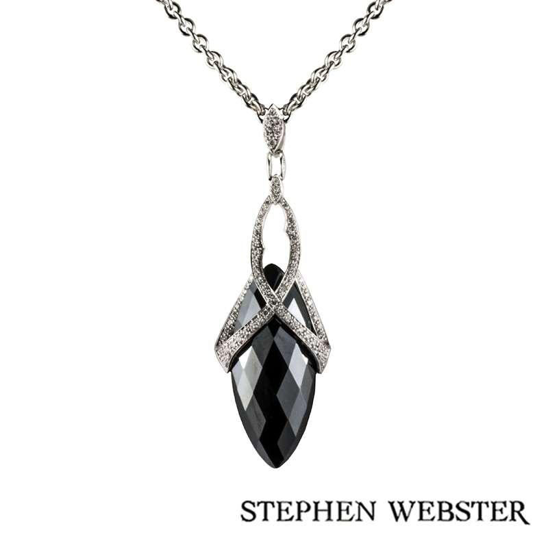 Stephen Webster 18k White Gold Hematite and Diamond Set Jewelvine Pendant